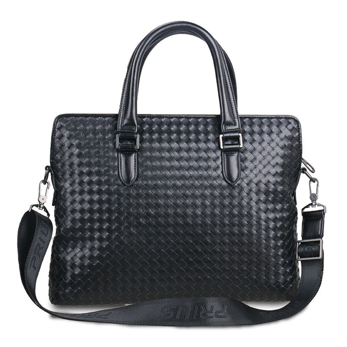 2018 New Fashion Men's Handbag Hand-woven Briefcase 100% Genuine Leather Men's Bag Briefcase Laptop Bag Casual Shoulder Bags