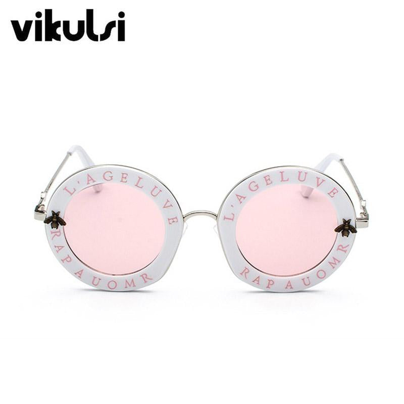 2018 New Fashion Retro Round Letters Sunglasses Transparent Frame ...