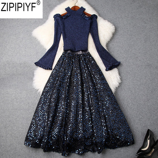 2018 New Women Autumn Winter O-Neck Long Flare Sleeve Off Shoulder Knitted Top + Sequin Skirt Two Piece Ladies Skirt Suit C3201