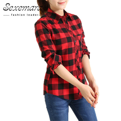 a67af20db6b 2018 New cotton Checkered plaid blouses shirt Cage female long sleeve casual  slim women plus size