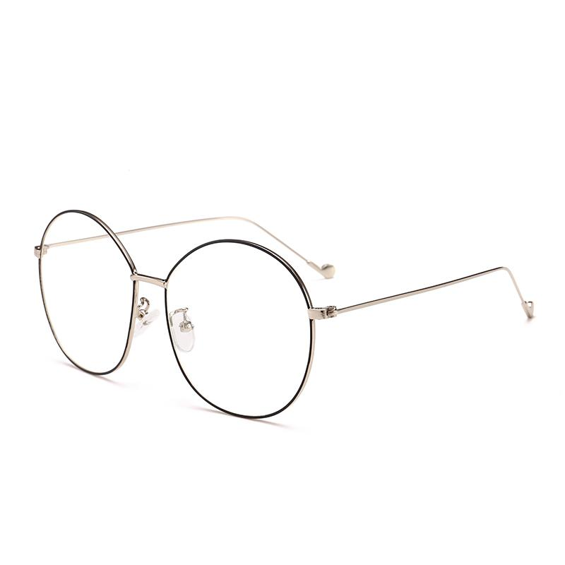2018 Oversize Glasses Frames For Women Metal Round Clear Glasses ...