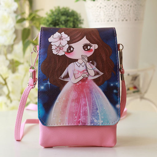 2018 PU leather cartoon printed wallet children coin purse kids mini crossbody money pouch bag bolsa Baby Toddler Purse for girl