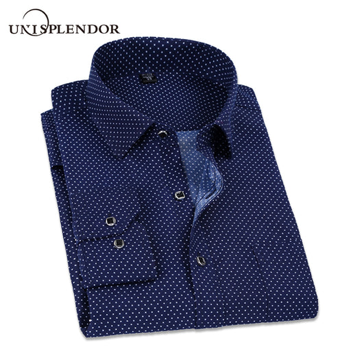 2018 Spring Polka and Solid Man Casual Shirts Classic Men Dress Shirt Long Sleeve High Quality Fashion Clothes For Male YN10038