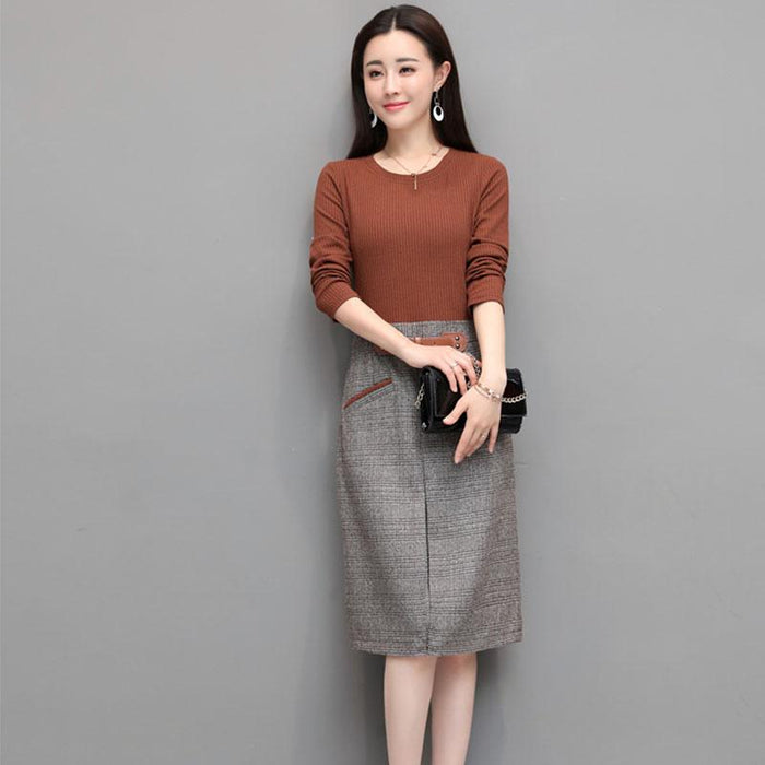2018 Spring Women knit Dress Fake two-piece Long-sleeved splicing ...