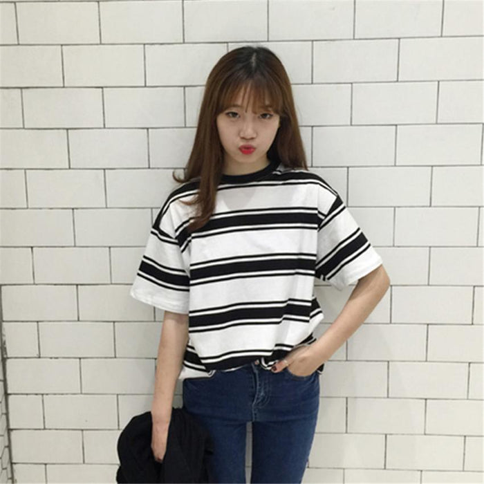 05d23cc0f5 2018 Summer Clothes for Women Harajuku BF Black and White Striped T-shirts  Loose Short