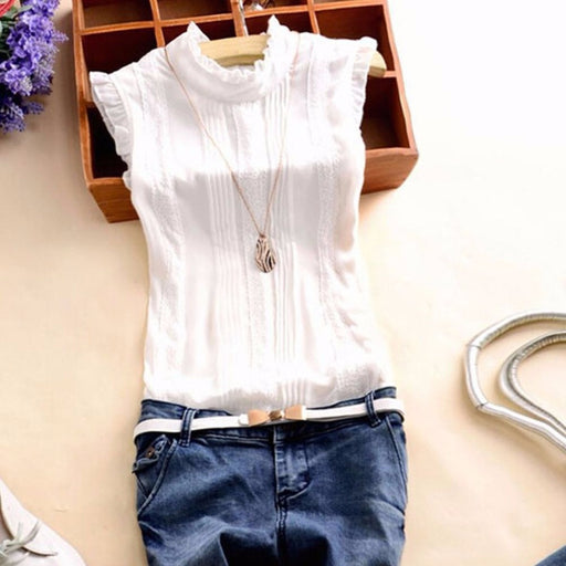 2018 Summer Style Vogue Women Ruffle Sleeve Neck Slim Fitted Shirts Casual Office Lady White Blouse Tops Tees