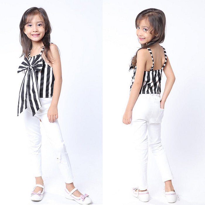 2018 Toddler Baby Kids Girl Striped Clothing Set Little Girls Big Bow Stripe Vest Tops +Pants Outfits Clothes 2PCS Outfits Set