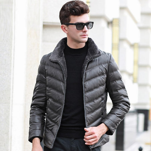 2018 Winter Men's Down Jacket Business Casual 90% White Duck Down Coat with Fur Collar Warm Leather Men's Winter Jacket CO066