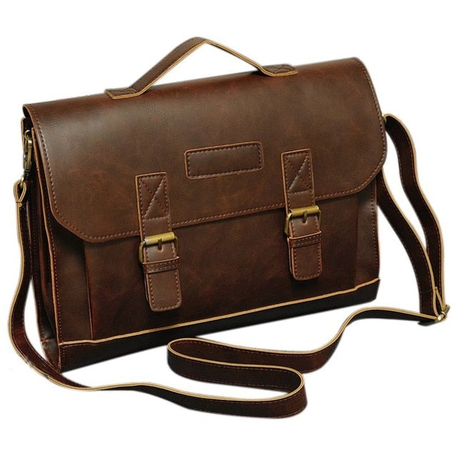 2018 new fashion high quality casual Men's Leather Messenger Shoulder Bags Business Work Briefcase Laptop Bag Handbag, Brown
