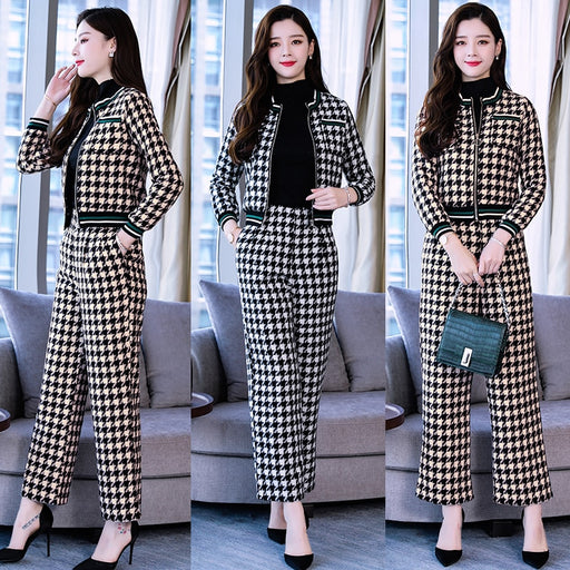 2018 winter women's fashion Houndstooth Knitted Woolen Jacket+woolen Wide leg pants two-piece sets female OL Retro plaid suits