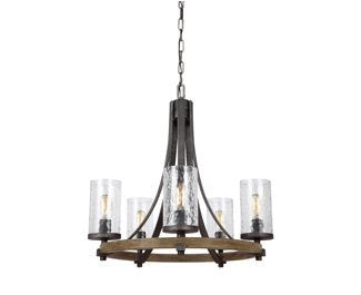 "Feiss F3133/5DWK/SGM Angelo Glass Chandelier Lighting with Shades, Iron, 5-Light (24""Dia x 25""H) 300watts"