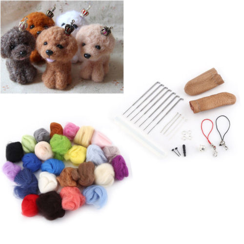 25 Colors Soft Wool Felt + Felting Needle Tool Set Mat Starter Kit DIY Craft
