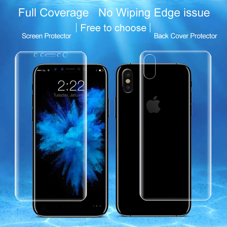 (2PCS) 3D curved full coverage Protective Film For Iphone X Iphonex Screen Protector and Back sticker IMAK Fullscreen Guard