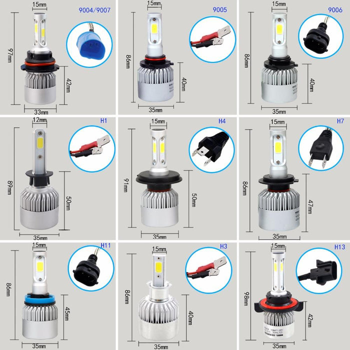 2pcs h7 h4 h11 led cob car headlight bulb h1 h13 h3 9004 9005 9006 9007
