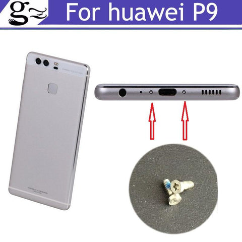 2PCS silver For HUAWEI P9 Buttom Dock Screws Housing Screw nail tack For HUAWEI P9  Mobile Phones Free Shipping
