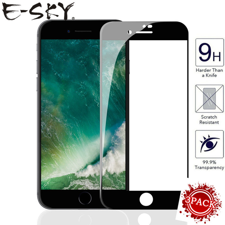 (3  PCS) screen protector E-SKY  Full screen coverage 9H for iPhone6/6s/7/8/6plus/7plus/8plus for iPhone X tempered glass