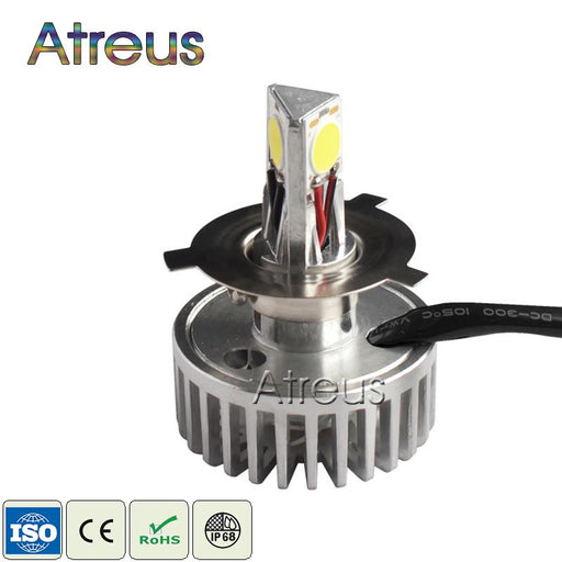 3 Sides 360 Degree Lighting LED Motorcycle Headlight Bulb H4 H7 H6 12V 18W 1800LM All in one driver For Moto Driving Fog Lamp