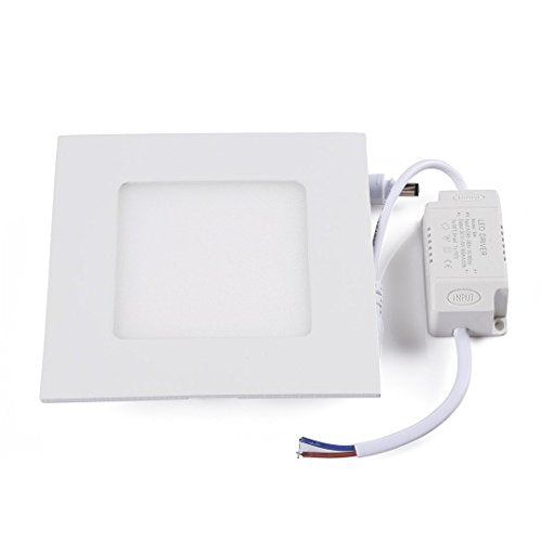 ProGreen 18W 8-inch Ultra-thin Square Flat LED Panel Light, Non-Dimmable LED Recessed Ceiling Lighting, 1260lm, 120W Halogen Equivalent, Cold White 5000k, Panel Downlight with 85-265V Power Supply