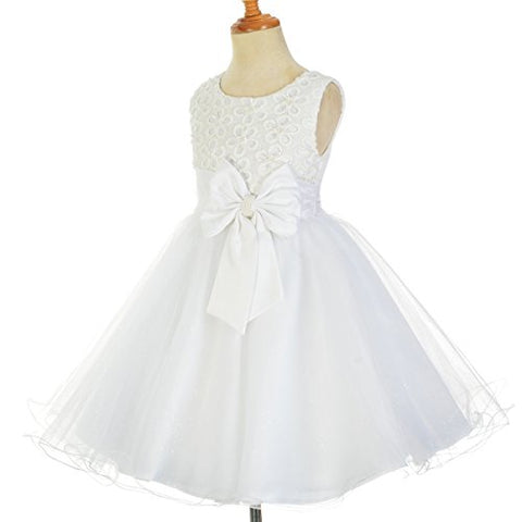 DRESSY DAISY Girls' Beads Embellishment Flower Girl Dresses Pageant Party Occasion Dress Size 18-24 Months White