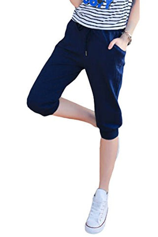 Pink Queen Women's Casual Drawstring Cuffed Cropped Pants Capri Joggers