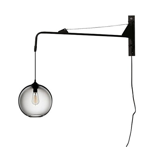 BAYCHEER HL471657 Plug in Clear Glass Globe Shade Wall Sconces Creative Swing Wall Lamp with Button Switch for Indoor Bar Cafe Bedroom Living Room Use E26 Light Bulb