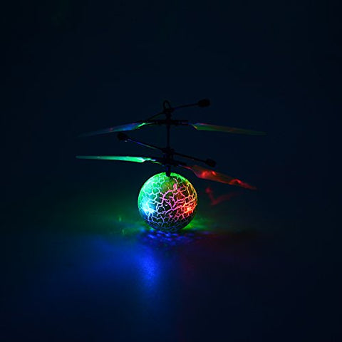 ThinkMax RC Flying Ball for Kids, RC Toys Infrared Induction Helicopter Ball with Shinning LED Lights Built-in and Remote Control Toys for Boys and Girls (Green)