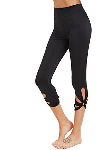 SweatyRocks Women's High Waisted Cutout Crop Leggings Yoga Workout Active Tights