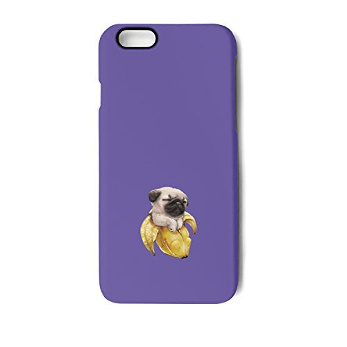 IPhone 6/6s/6 Plus/6s Plus/7/7 Plus/8/8 Plus Case,Pug Dog In Banana Blue Slim Fit Matte Anti-Scratch Slip Cover Shock Absorbent TPU Bumper Case Apple IPhone Case