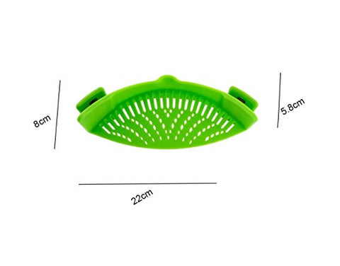 FDA-approved Silicone Pot Grease Strainer,No-hands No-Fuss Clip-On Drainer,Kitchen Tableware Universal Colander,Best for Anti-spill Straining Pasta,Vegetables,Grease,Rice,Fruits Cooking Tool,Green