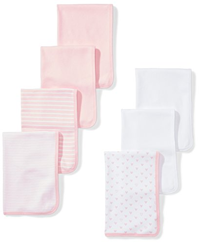 Moon and Back Baby Set of 7 Organic Burp Cloths, Pink Blush, One Size