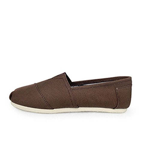 Unisex Women's Men's Canvas Slip On Shoe Sneaker Flat (brown 39)