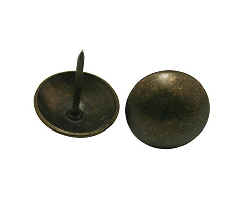 "Generic Round Large-headed Nail 0.75"" Diameter Color Antique Brass for Sofa Decoration Pack of 30."