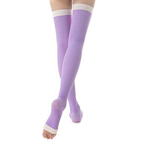 EUBUY Women Ladys Fat Burn Firm Support Over The Knee Thigh High Stay Up Lace Top Yoga Sleep Dress Open Toes Compression Socks Stockings (Purple)