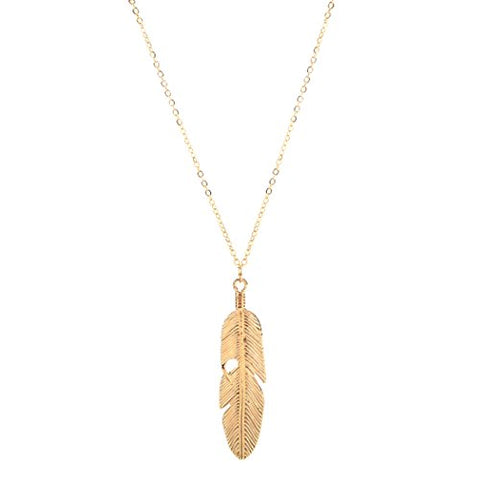 Women Vintage Feather Pendant Necklace, Cheesea Long Chain Necklace Sweater Statement Angel Jewelry (Gold)