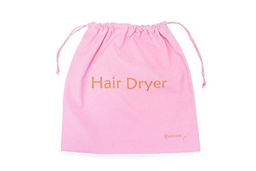 Extra Large 13.5 x 13.5in Girly Pink Drawstring Velvet Hair Dryer Bag- Gift- Ideal Storage For Curling Irons, Straighteners Even Toiletry, Combs and Brushes - Yoga Class Gym Organizer Bag