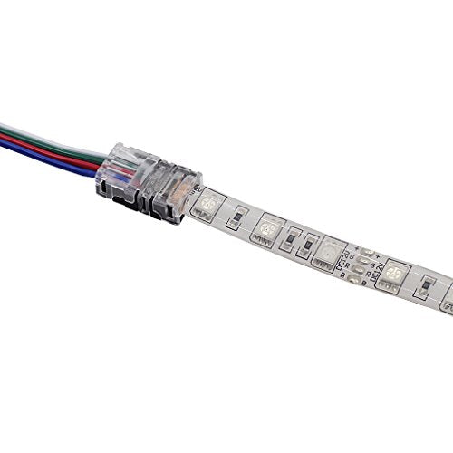 Non-stripping LED Strip Connector for Waterproof 10mm Wide RGB Strip Light,  Connect 4pin 10mm Strip to Wire, Assemble Wire According to Project