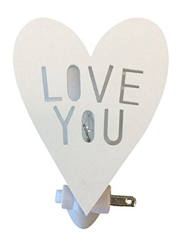 Housey Home Handmade Love You Heart Shape Plug In Wall Outlet Night Light with Switch and Screen Printed Box - White