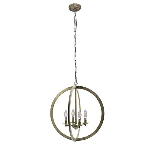 "Wideskall 20"" Industrial Vintage Bronze Metal Iron Frame Round Sphere Cage Chain Hanging Chandelier Ceiling Light 4-Bulbs Lighting Fixture, UL Certificated"