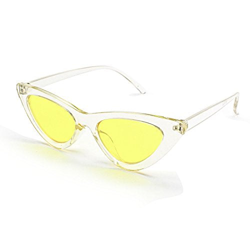 ac0d920dd3 Livhò Retro Vintage Narrow Cat Eye Sunglasses for Women Clout Goggles  Plastic Frame (Clear yellow