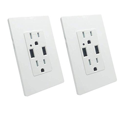 Wall Outlet with USB - LASOCKETS Dual USB Ports 4.2A DC White Charger Socket,2-Outlet 15A TR Duplex Receptacle, for iphoneX,iphone 8/8 plus,Samsung Galaxy and more, with 4 Free Wall Plates, UL Listed