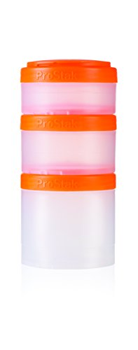 BlenderBottle ProStak Twist n' Lock Storage Jars Expansion 3-Pak with Pill Tray, Clear/Orange
