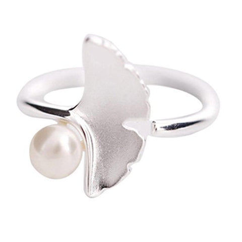 Botrong Fashion Pearl Ring Female Literary Small Fresh Ginkgo Leaves Ring