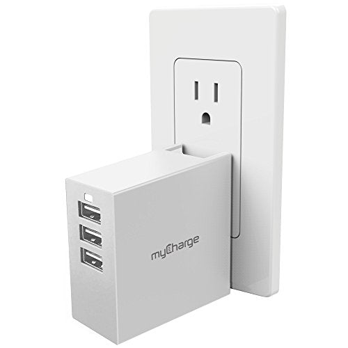 myCharge Power-Base 3-Port USB Wall Charger 4.0A Output, Home and Travel with Foldable Plug for Smartphones, Tablets, Wearables and USB Devices (Apple iPhone, iPad, iPod, Samsung Galaxy)