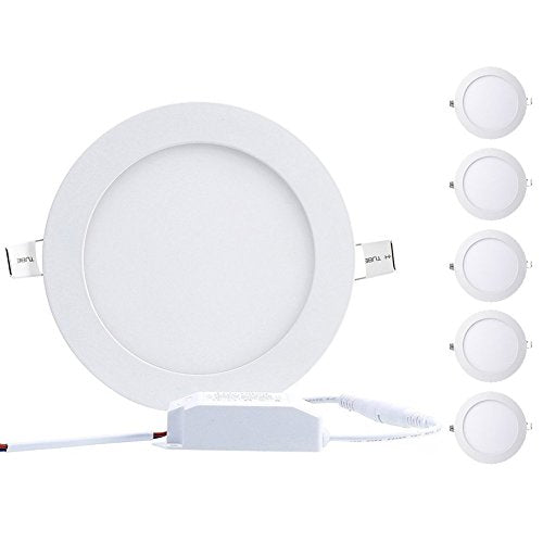 B-right Pack of 5 Units 18W 8-inch Ultra-thin Round LED Recessed Panel Light, 1300lm, 120W Incandescent Equivalent, 5000K Cool White, LED Recessed Ceiling Lights for Home, Office, Commercial Lighting