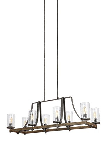 "Feiss F3136/8DWK/SGM Angelo Island Chandelier Lighting with Glass Shades, Iron, 8-Light (46""L x 17""H) 480watts"