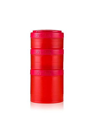 BlenderBottle ProStak Twist n' Lock Storage Jars Expansion 3-Pak with Pill Tray, Red