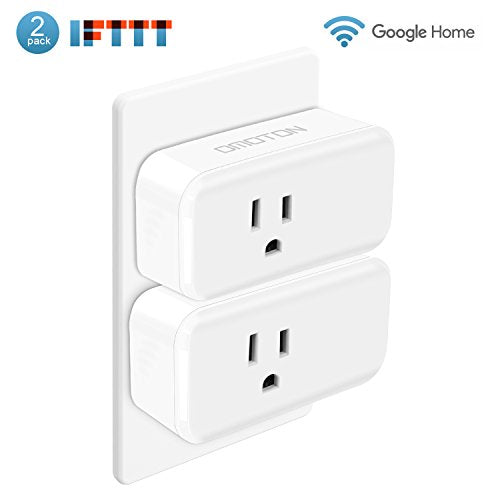 OMOTON [2 Pack] Mini Wifi Smart Plug compatible with Amazon Alexa,Google Home, IFTTT, 15A Wireless Socket Outlet Remotely Controls your Devices from anywhere,No Hub Required(Android/IOS)