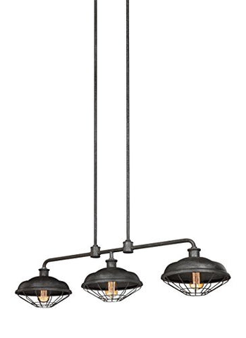 "Feiss F3158/3SGM Lennex Industrial Vintage Island Chandelier Lighting, Iron, 3-Light (48""L x 12""H) 180watts"