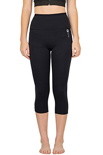 "Delfin Spa Women's Heat Maximizing FAR Infrared Neoprene Anti Cellulite Fitness Capris with Cell Pocket - ""Sauna Pants"""