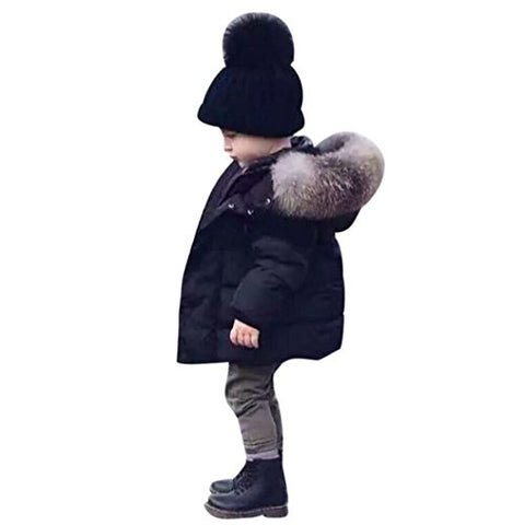 Boy's Winter Padded Jacket Thick Hooded Parka Outwear Coat with Faux Fur Trim (3T, Black)